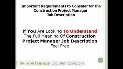 management description construction project manager description
