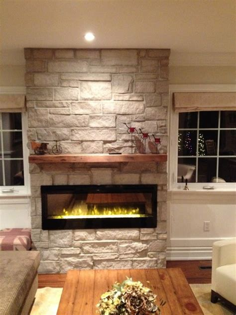 living room mantle electric fireplace with natural stone barn beam mantel