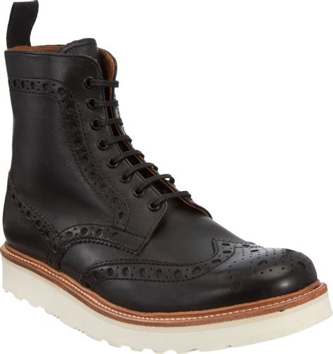 grenson mens boots grenson fred wingtip derby boots in black for lyst
