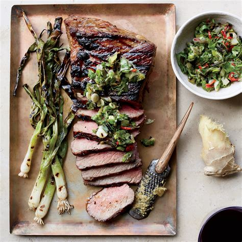 tri tip steak with grilled scallion ginger and cilantro