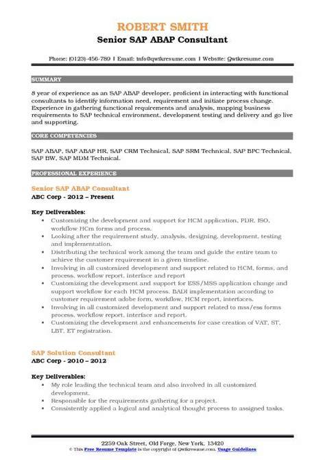abap consultant resume sles qwikresume