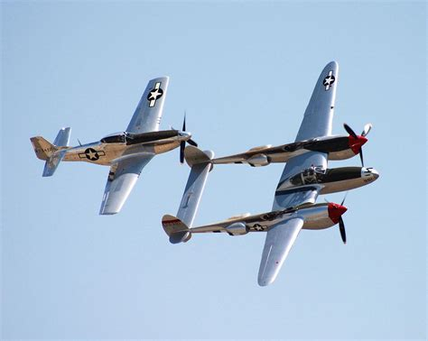 p 38 lightning with p 51 mustang photograph by camm