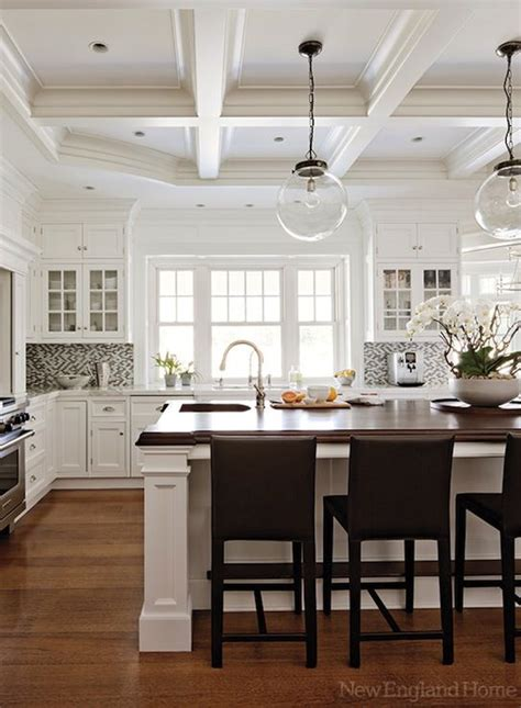 White Coffered Ceiling by New Home Hardwood Floors White Cabinetry