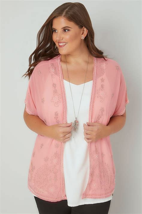 Modell S Gift Card Balance Check - pink bead embellished chiffon sheer kimono cover up plus size 16 to 32