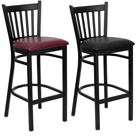 heavy duty metal bar stool vert back chair kitchen