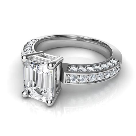3 sided pave emerald cut engagement ring