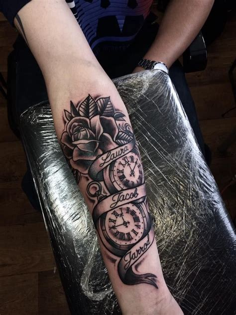 rose tattoo with scroll time pocket scroll design beth