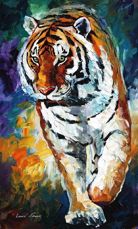 tiger paint bengal tiger palette knife painting on canvas by