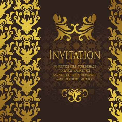 Invitation Card Template by Gold Luxury Invitation Card Template Vector Free Vector In