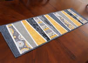 modern table runner quilt in gray and mustard by