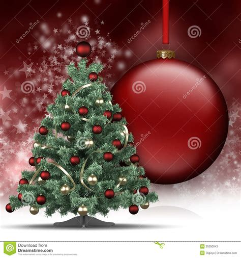 christmas tree and big bauble stock photos image 35350043
