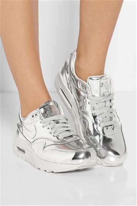 www silver sneakers nike air max metallic leather sneakers in silver lyst