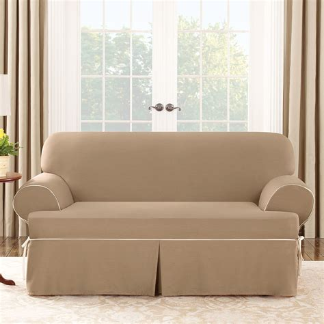 cotton duck sofa slipcover sure fit cotton duck loveseat t cushion slipcover