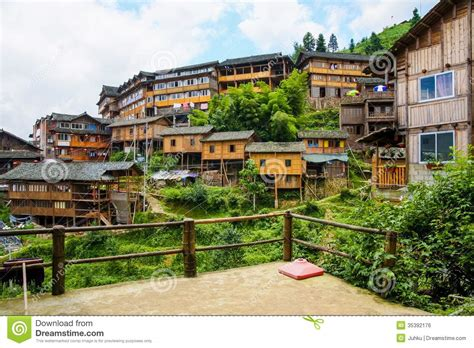 Stilt Home Plans traditional chinese village wooden houses royalty free