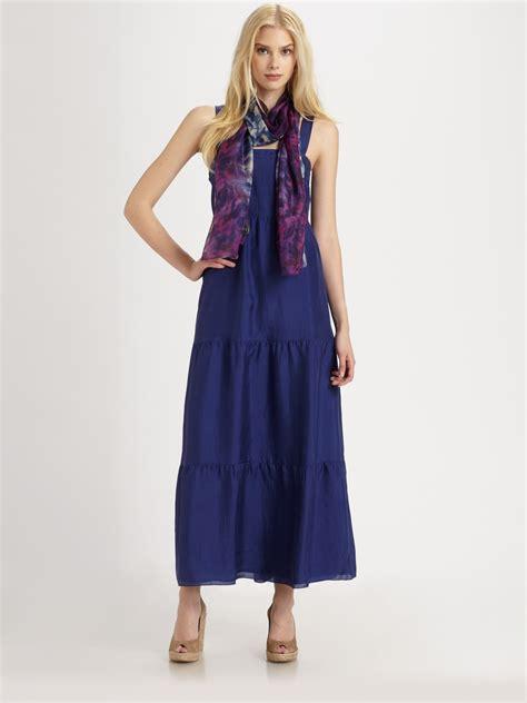 eileen fisher silk maxi sundress in blue lyst