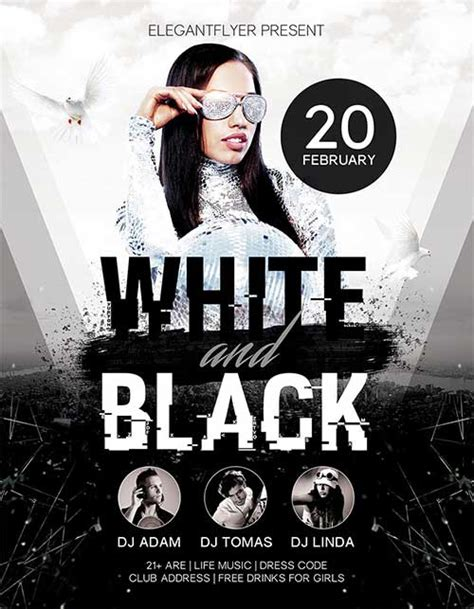 white and black party free psd flyer template http