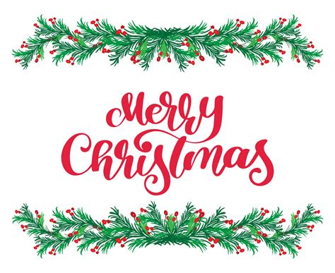 merry christmas red calligraphy lettering text  vintage flourish green fir tree branches