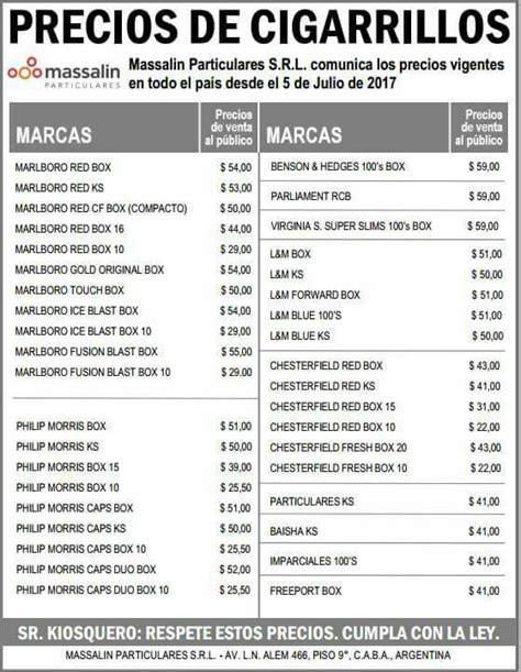 ver aumento ffaa arg abril16 cigarrillos lista de precios massalin particulares 5 de