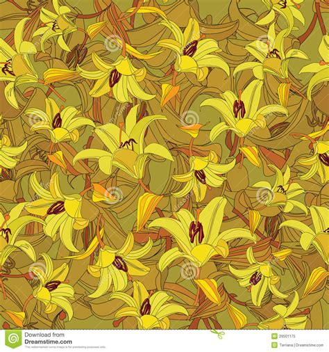 yellow lily pattern floral seamless pattern with yellow flowers lily royalty