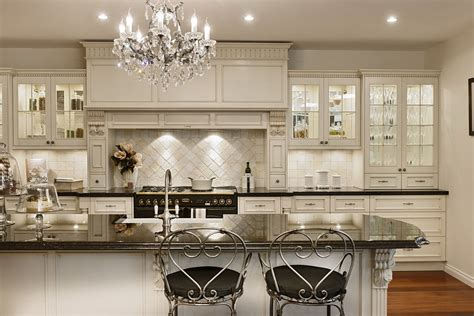 Interior Of Kitchen Cabinets by Bright Kitchen Interior Feat Antique White Kitchen