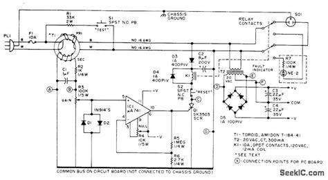 ground fault interrupter basic circuit circuit diagram