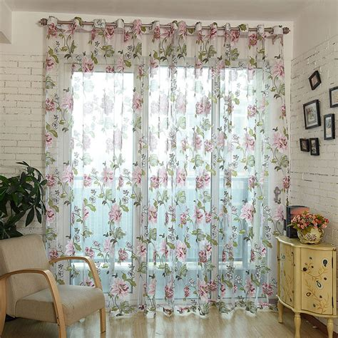 sheer flower curtains new classical flower curtain window screening fabric tulle