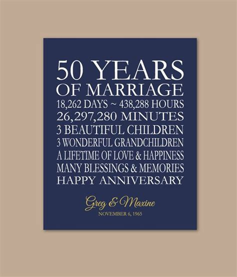 50 yr wedding anniversary 50th anniversary gift for parents 50 years married 50th