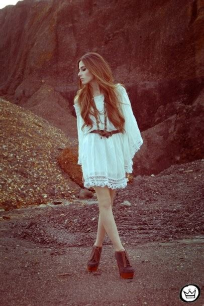 Dress Wedges Flow shoes boho bohemian hippie vintage white dress dress white flow necklace wedges