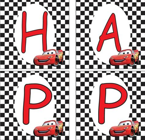 disney cars happy birthday banner printable lightning mcqueen banner party ideas pinterest
