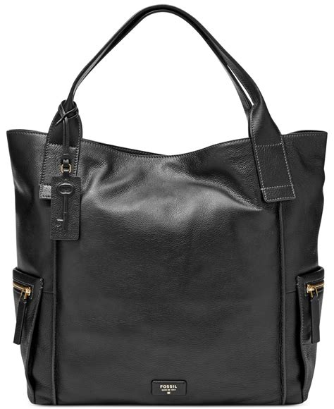 Fossil Tote Bag Leather fossil emerson leather tote in black lyst