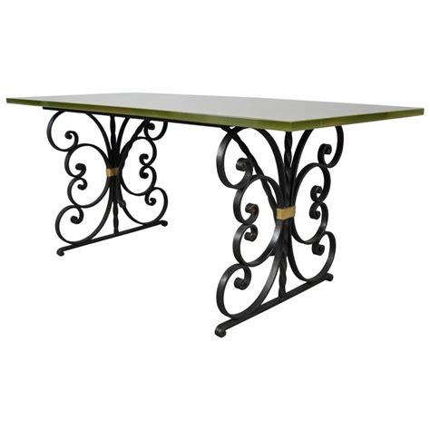 wrought iron glass dining table 1940s wrought iron and glass top dining table at 1stdibs