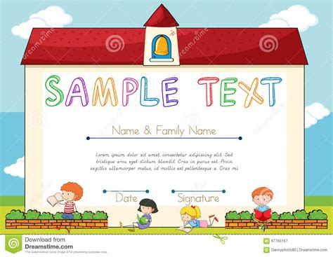 templates for children s certificates certificate template with children on background stock