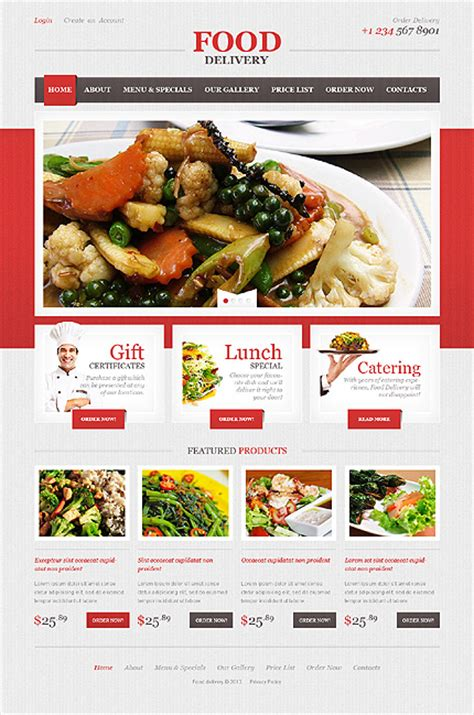 Food Delivery Responsive Website Template Food Delivery Website Templates Free