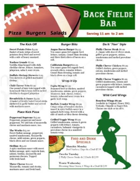 Football Sports Bar Menu Template Sports Bar Menus Sports Bar Menu Template