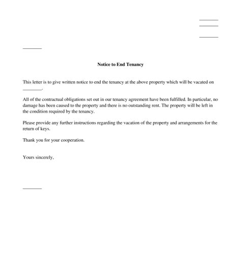 Exle Letter Of Ending Tenancy Agreement Tenant S Letter Giving Notice To End Tenancy Template