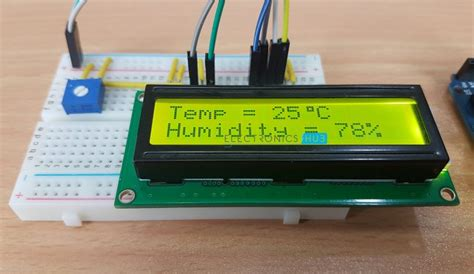 Dht11 Sensor Temperature And Humidity With Breadboard dht11 humidity and temperature sensor on arduino with lcd