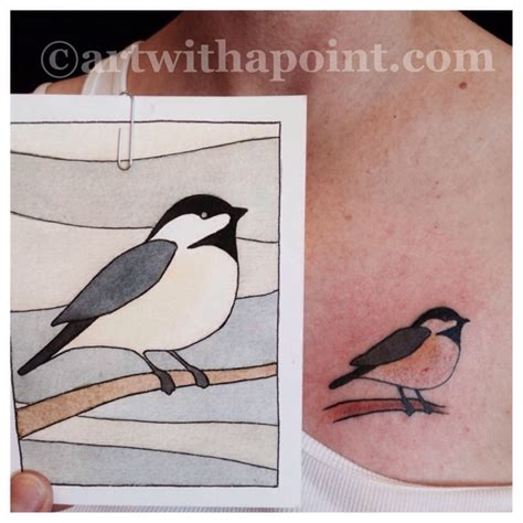 art with a point 187 watercolor chickadee custom tattoo