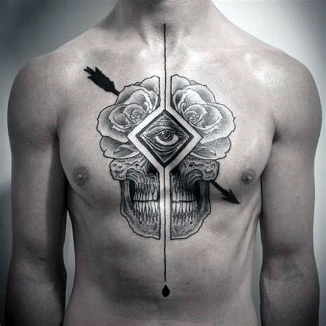 tattoo on arrow chest 50 skull chest tattoo designs for men haunting ink ideas