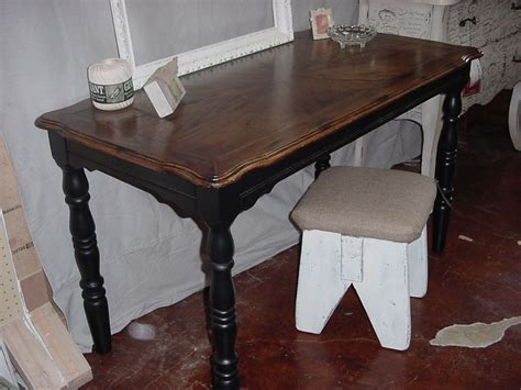 stained table top painted legs stained patterned top table desk w black legs and skirt
