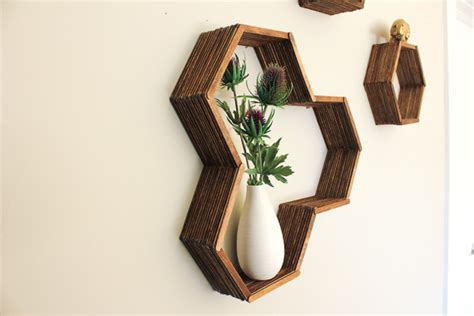 make a diy hexagon shelf with popsicle sticks huffpost