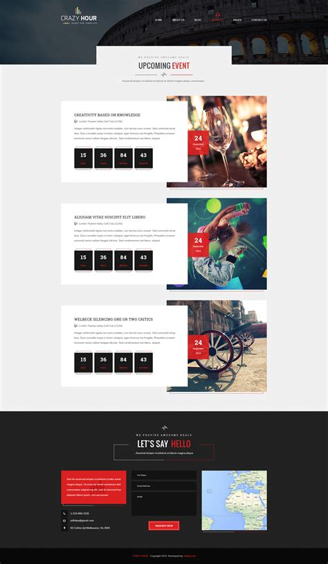 design event page crazy hour event management psd template by stillidea