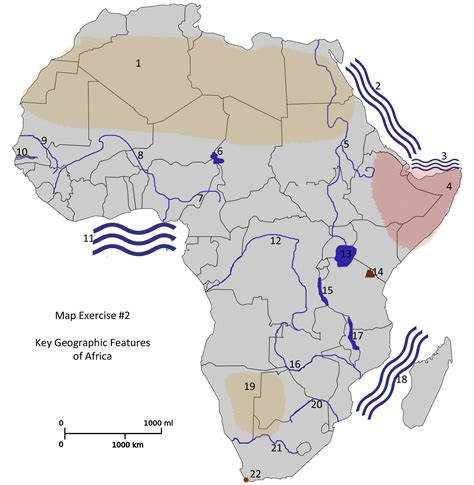 africa map features blank map africa physical features