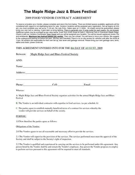 vendor agreement template contract 3 vendor agreement templatereport template document