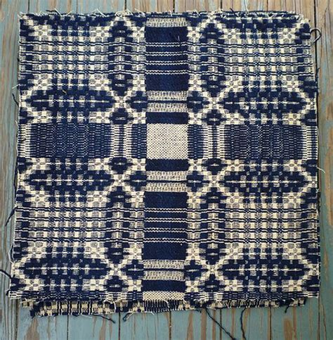 Woven Coverlet antique indigo wool jacquard woven 7 coverlet cuts from chezmarianne on ruby