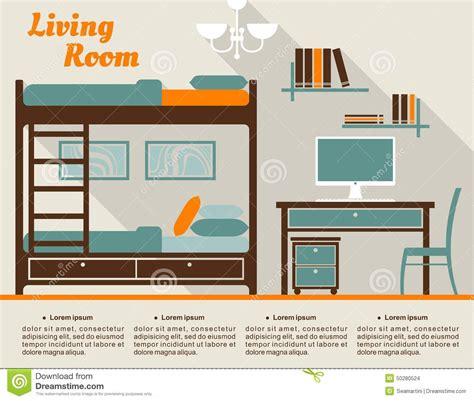 Living Room Flat Design Vector Living Room Flat Interior Design Infographic Stock Vector