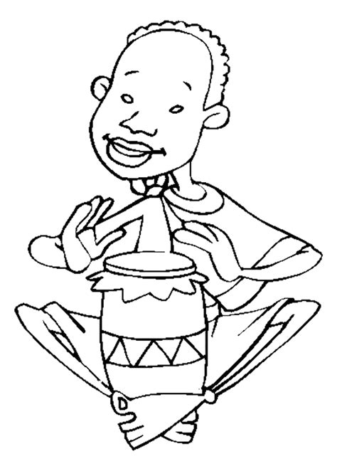 african music coloring pages coloriage le gar 231 on et son tambour djemb 233 hugolescargot com