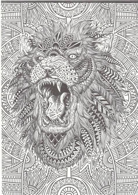 Abstract Lion Coloring Pages | lion abstract doodle zentangle coloring pages colouring