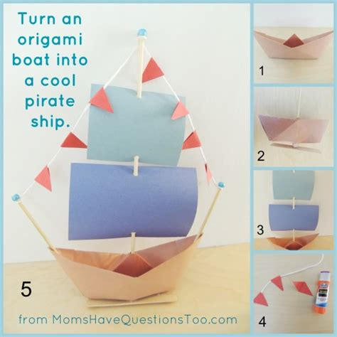 How To Make Paper Float - origami boat and pirate ship craft