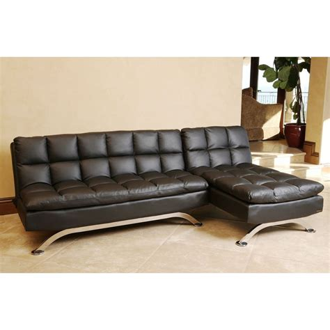 Leather Sofa Bed With Chaise Abbyson Living Vienna Black Leather Sofa Bed And Chaise Sectional Furniture Home Ebay