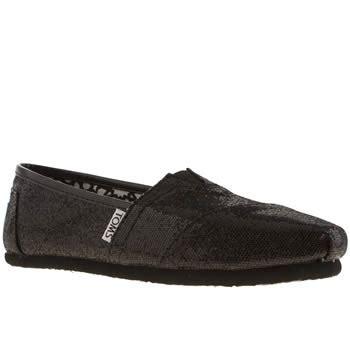 toms classic black glitter flat shoes womens black toms classic glitter flat shoes schuh